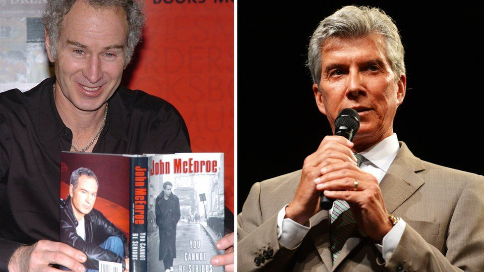 Collage photograph of John McEnroe and ring announcer Michael Buffer