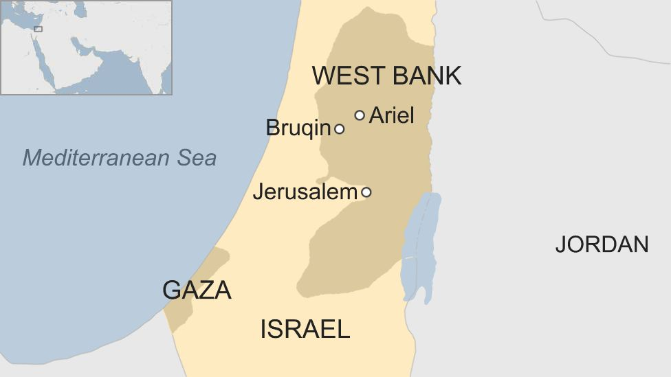 Map showing Israel and West Bank