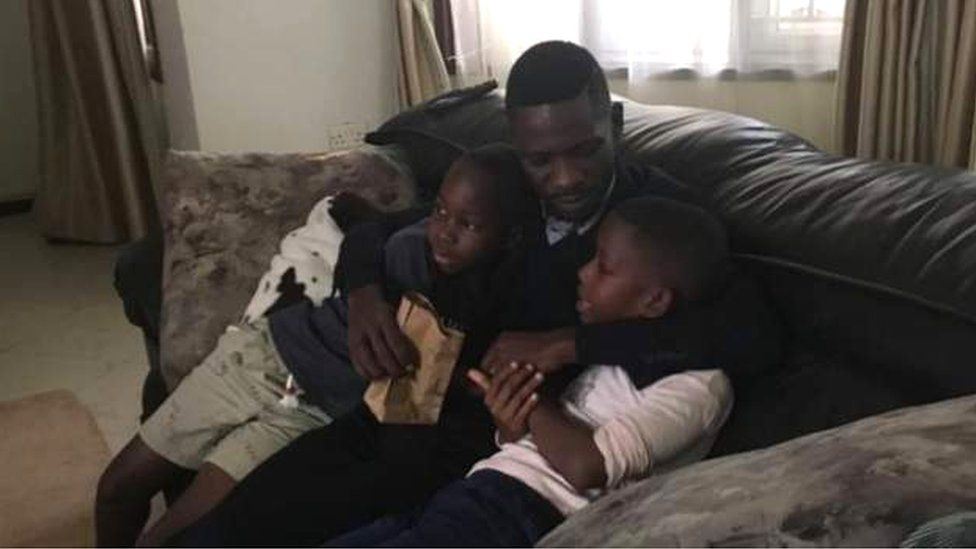 Bobi Wine at home with his children