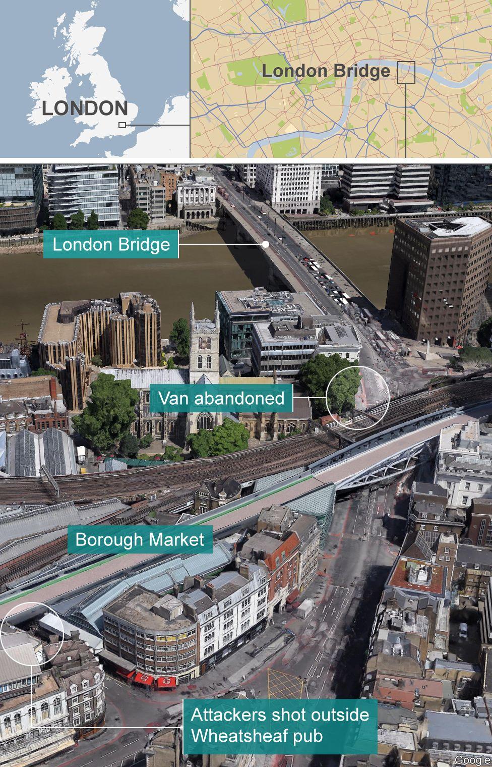 Map of London attack scene