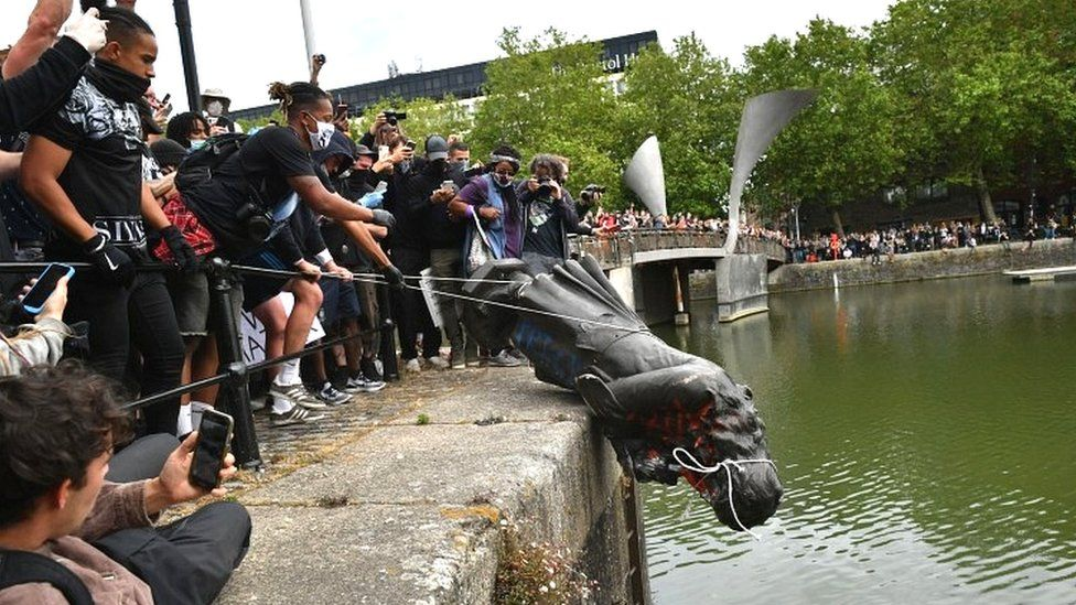 Edward Colston statue being thrown in harbour