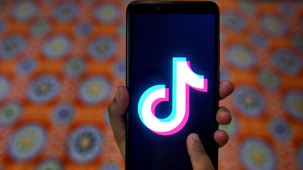 The tiktok application sign seen on a screen of an Android phone