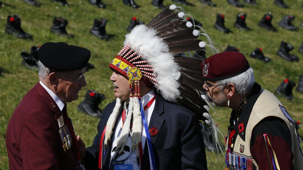 Canadian veterans attend the commemorations of the centenary of the Battle of Vimy at the Canadian National Vimy Memorial in Givenchy-en-Gohelle, near Arras, France, 09 April 2017