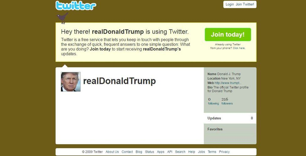 No entries on Trump twitter
