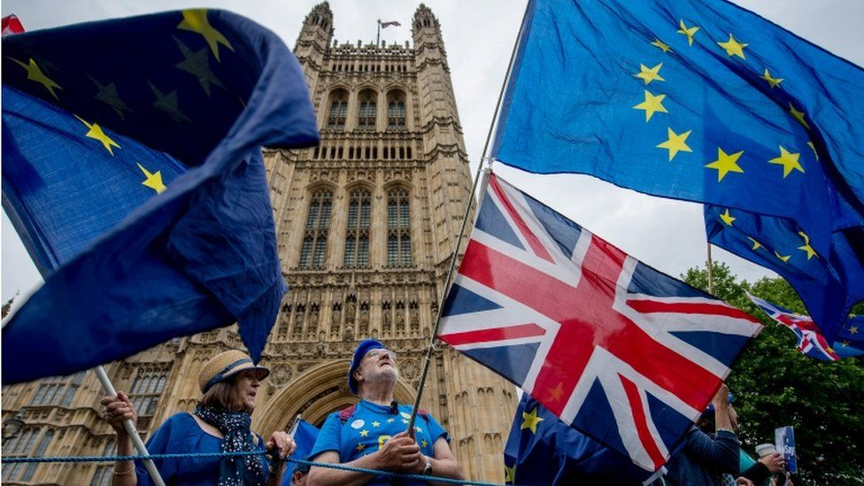 Anti-Brexit demonstration outside Parliament