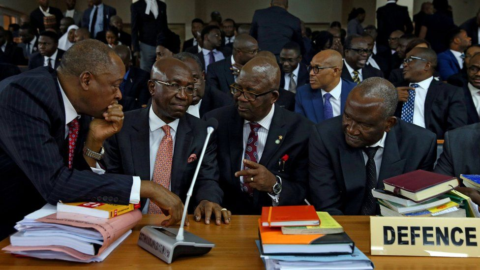 Attorneys in defence of Nigeria's Chief Justice Walter Onnoghen are pictured at the Code of Conduct Tribunal in Abuja