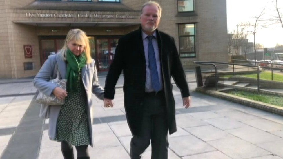 Sarah Lewis leaving the hearing