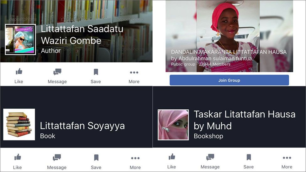 Facebook groups about Hausa romance novels