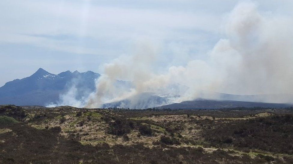 Heath fire near Sligachan