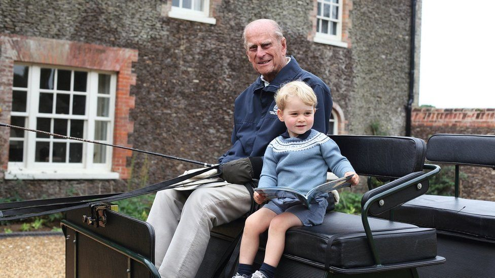 Prince Philip with Prince George