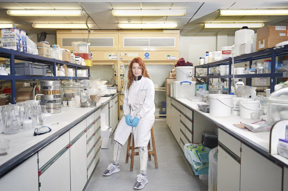 Elena Dieckmann in her lab in Imperial College London
