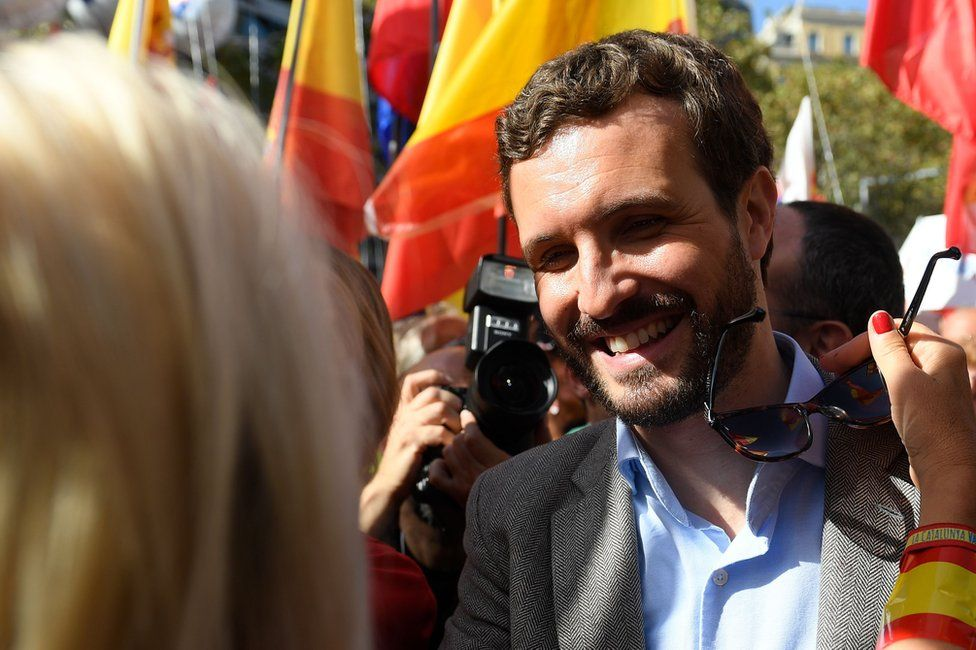 Pablo Casado is greeted by a supporter in Barcelona on October 27, 2019