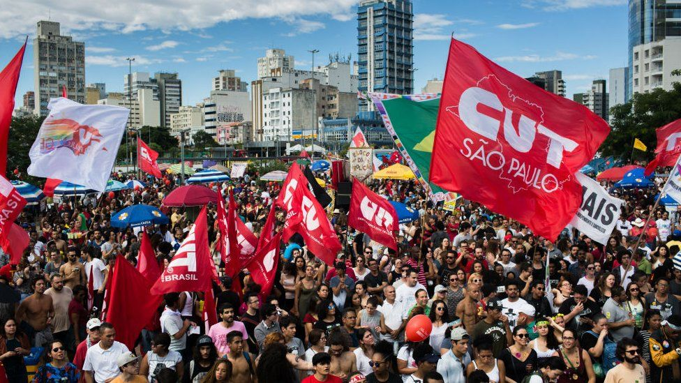 Protesters call for the impeachment of President Michel Temer and direct elections on June 4, 2017 in Sao Paulo, Brazil.