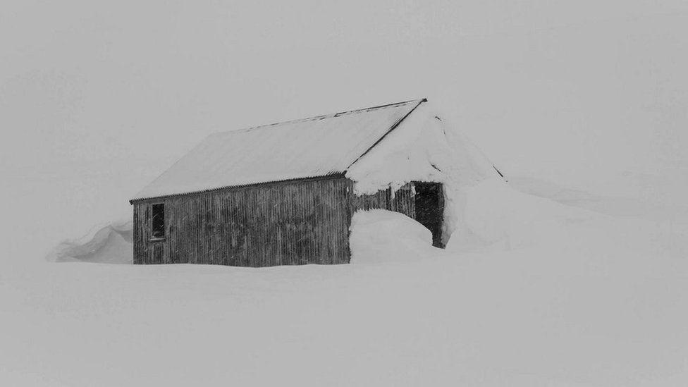 Old Aberdeen ski hut in snow