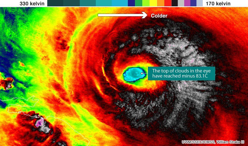 Infrared image of Hurricane Irma, 7 Sept