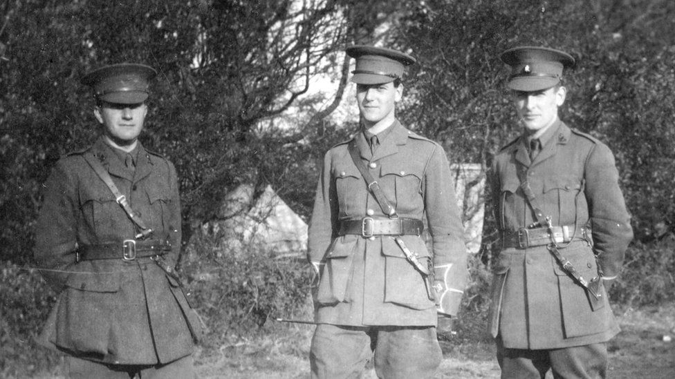 Neill, Hardman and Hardy. A Company platoon commanders at Clandeboye