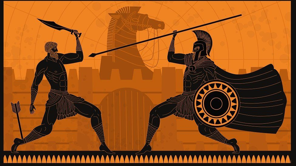 Greek style illustration: Achilles fighting and being wounded by arrow outside Troy