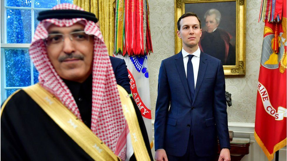 White House Advisor Jared Kushner, watches alongside a member of the Saudi Delegation during a meeting between President Donald Trump and Crown Prince Mohammed bin Salman of the Kingdom of Saudi Arabia in the Oval Office at the White House on March 20, 2018 in Washington, D.C.