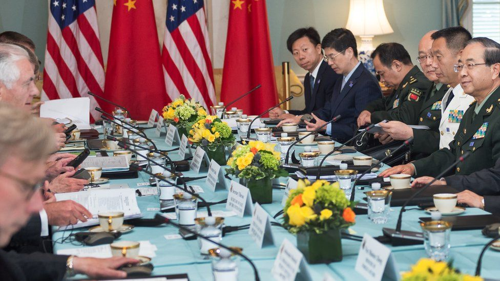 Fang Fenghui in 2017 in meeting with US officials