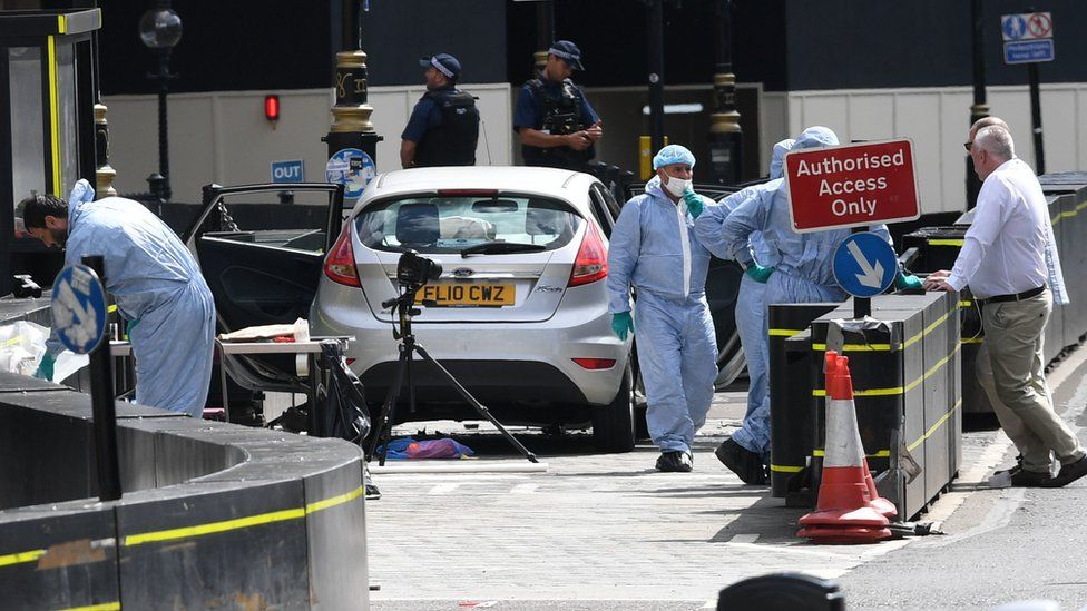 Forensics at the scene of the crash near parliament