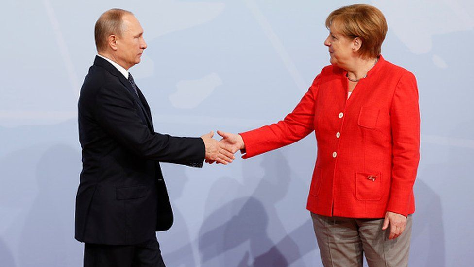 German Chancellor Angela Merkel hosted Russia President Vladimir
