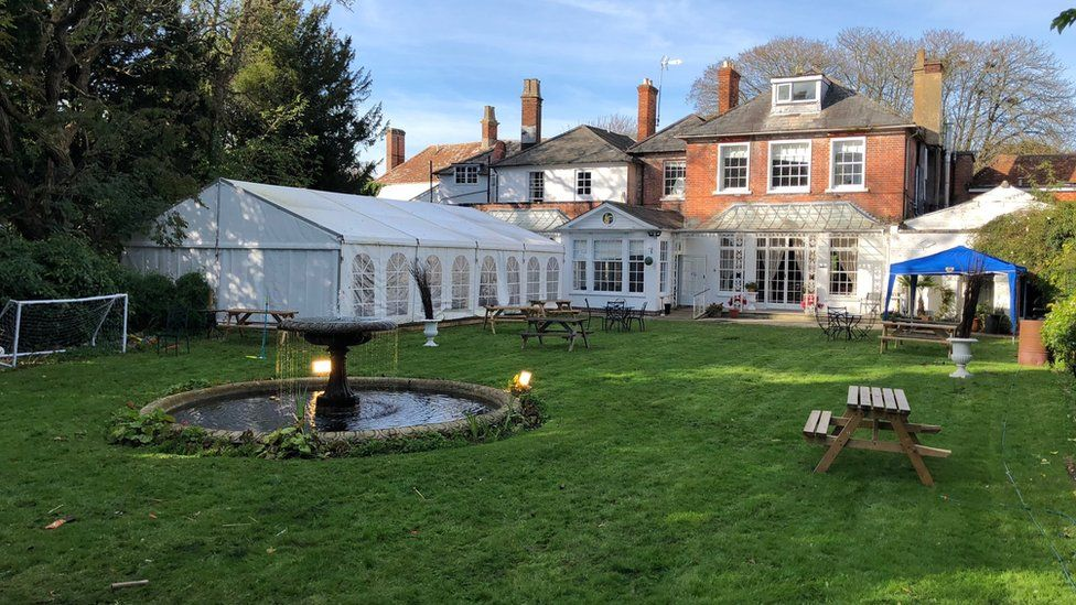 The garden of the Antrobus Hotel in Amesbury, Wiltshire
