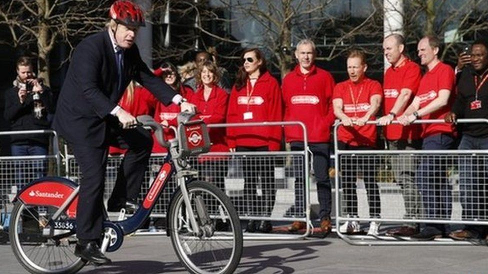 Boris Johnson on new red 'Boris bikes'