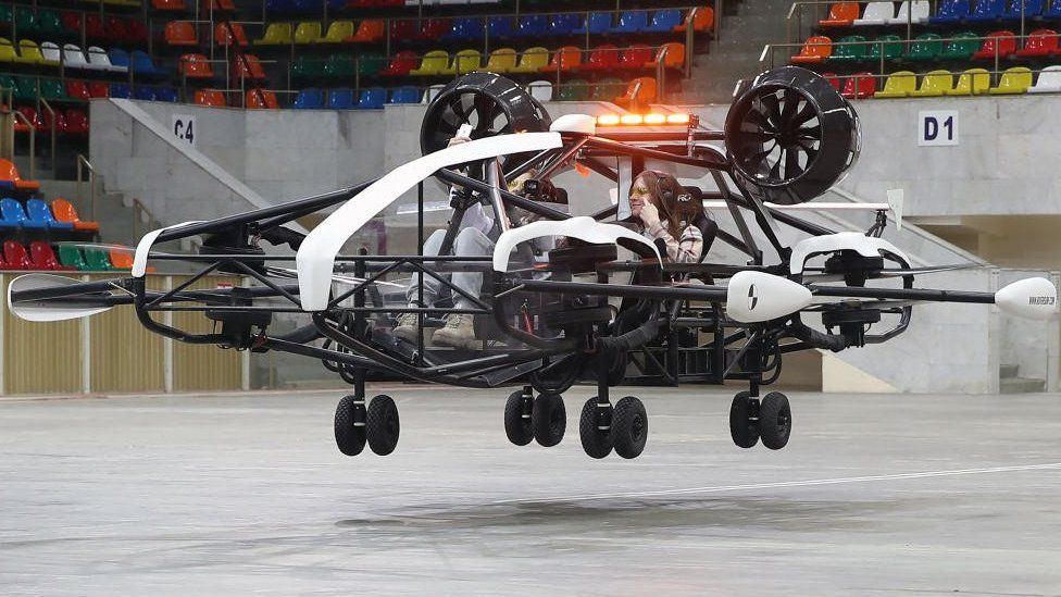 A flying taxi undergoes a test run in Moscow.