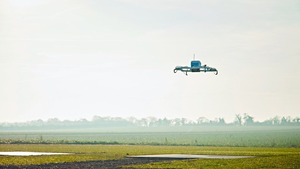 Amazon drone flying in the sky