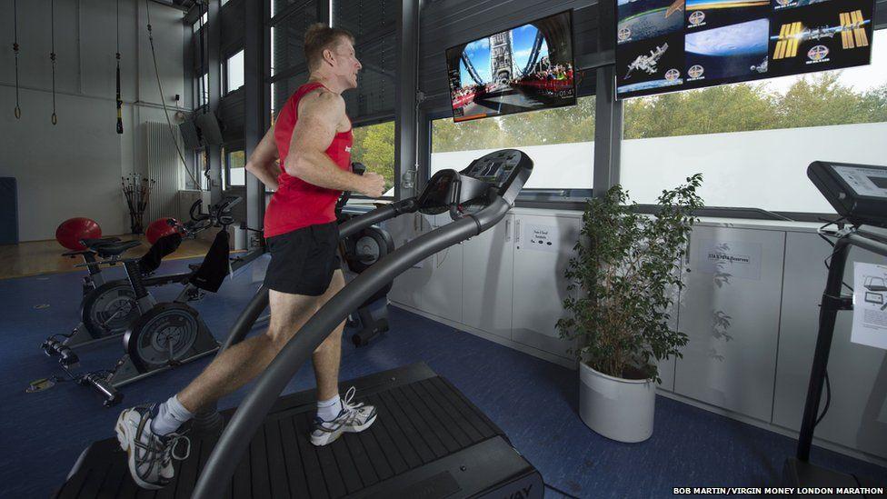Tim Peake on treadmill