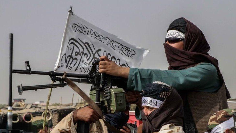 Armed Taliban (or Taleban) militia fighters patrol in Kandahar, Afghanistan, 17 August 2021