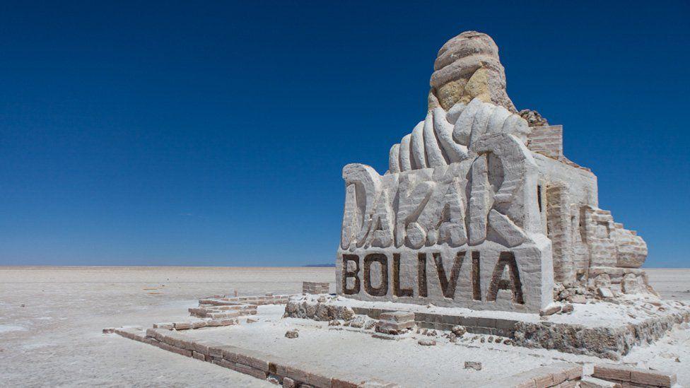Monument to the Dakar rally in the Uyuni salt flat
