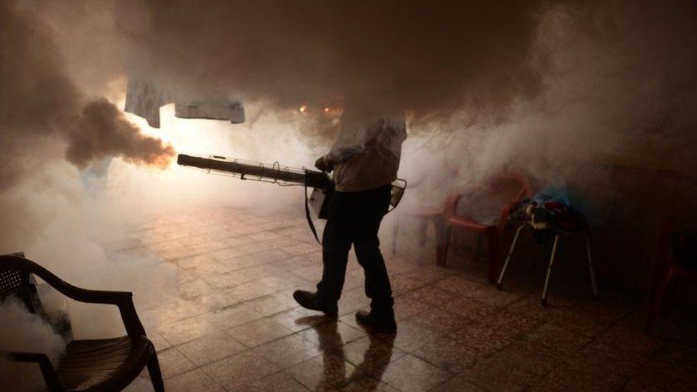 A health official fumigates a home in Soyapango, El Salvador. Photo: 21 January 2016