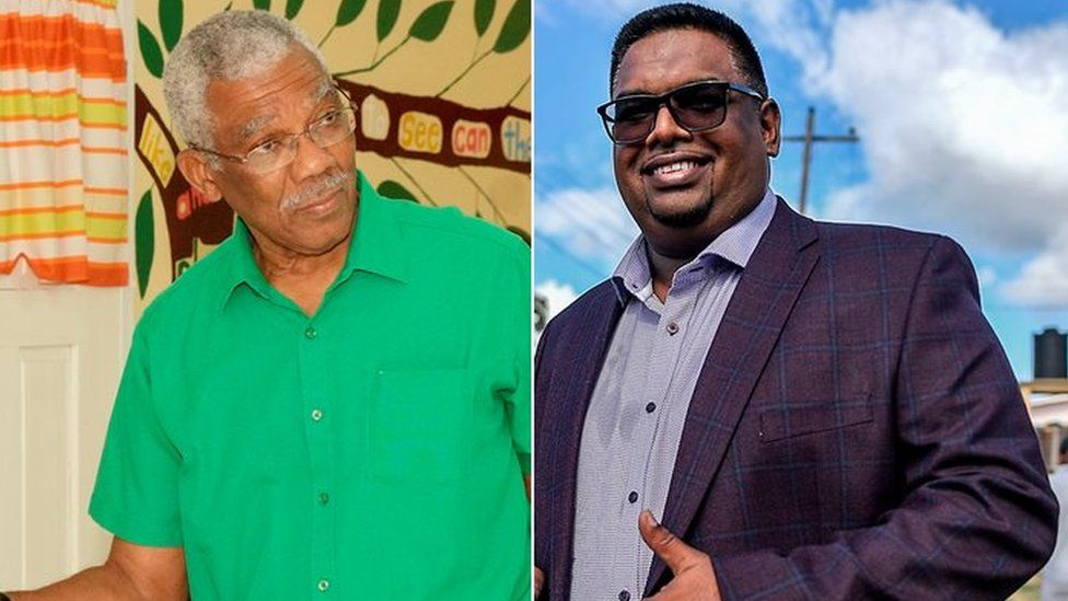 Composite pictures shows President David Granger and opposition rival Irfaan Ali