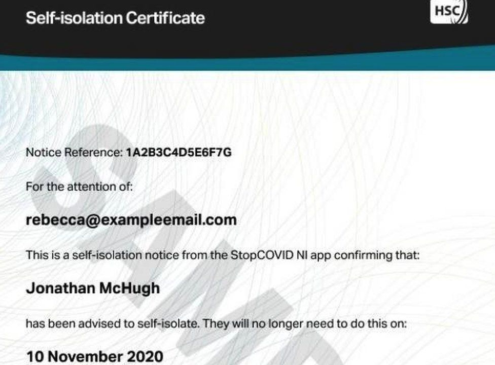 Self-Isolation Certificate