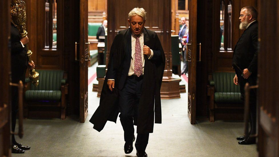 John Bercow leaving the Commons chamber