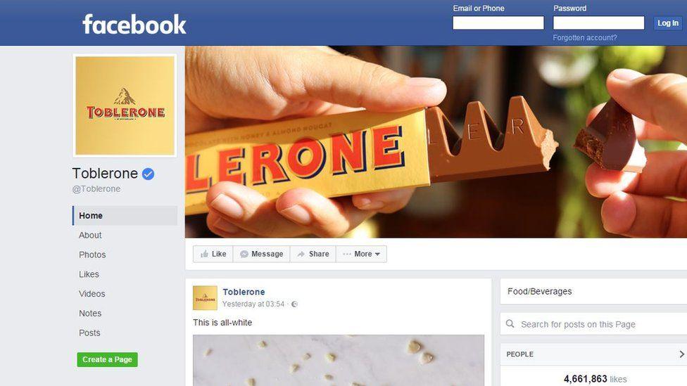 Toblerone Facebook page