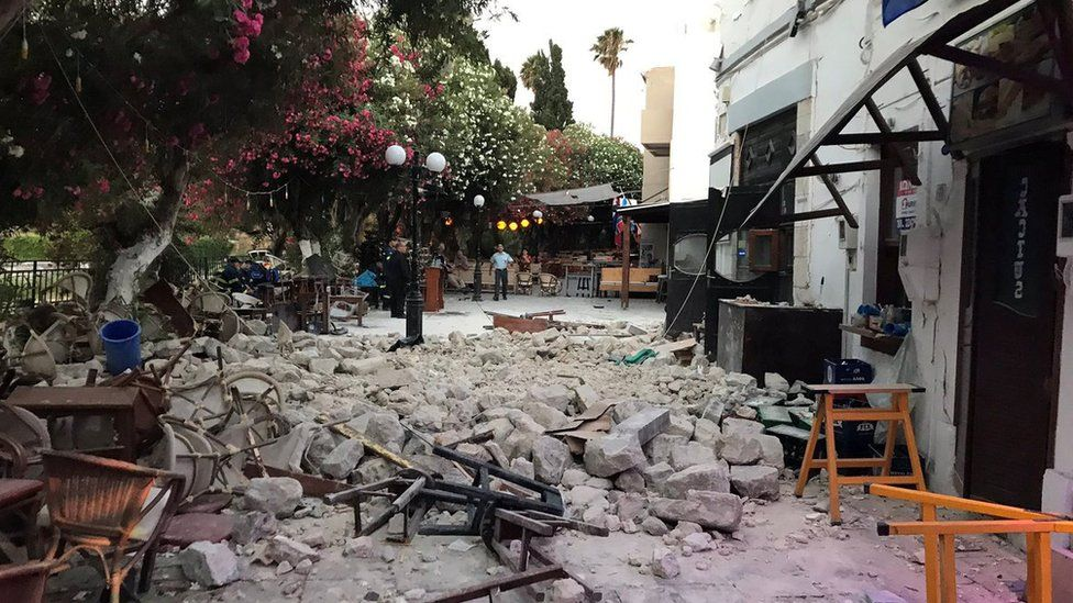 Damage caused to a bar by the earthquake in Kos