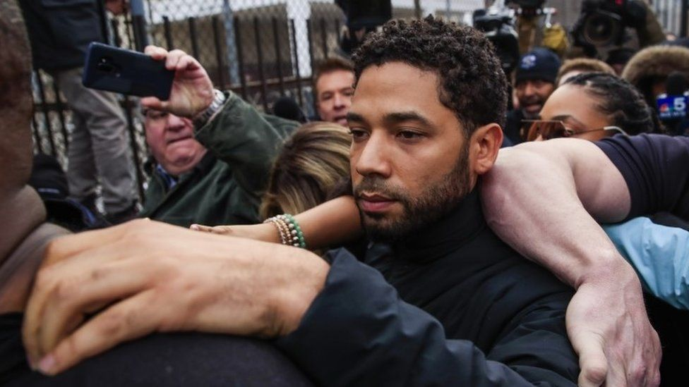 Jussie Smollett emerges from the Cook County Court complex in Chicago 21 February 2019