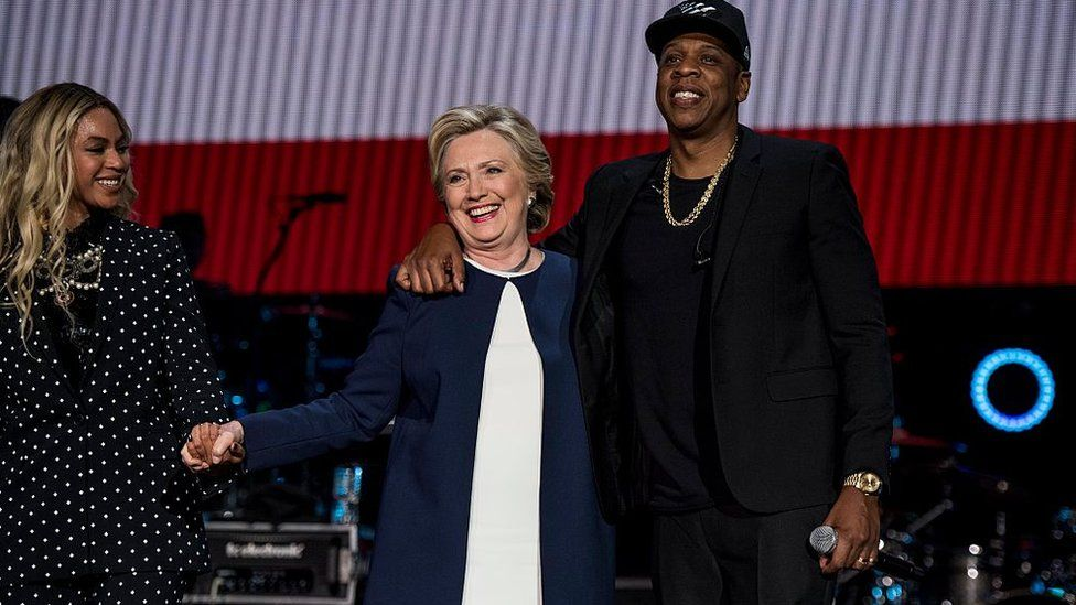 Hillary Clinton campaign rally with Beyonce and Jay Z