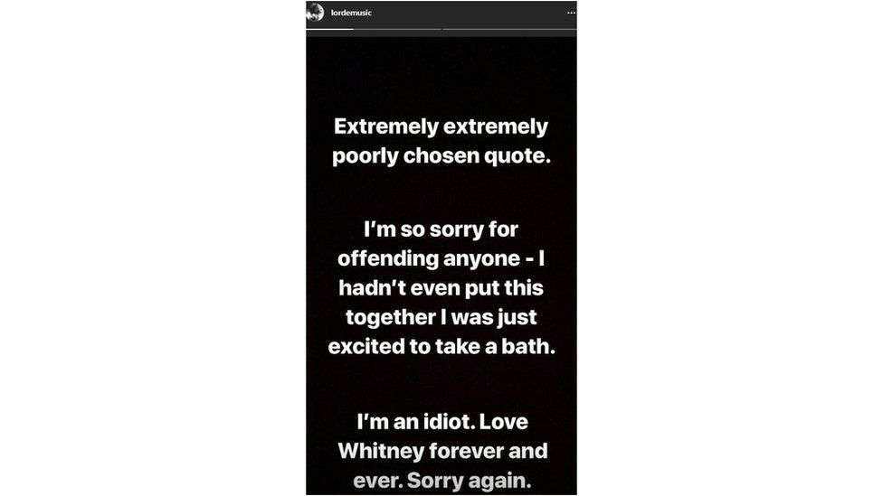 Lorde's apology on Instagram