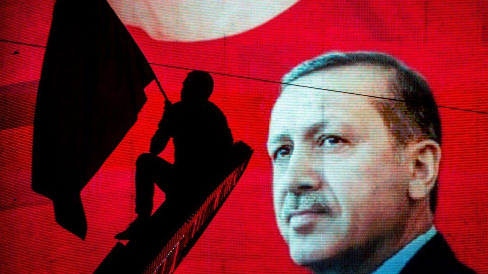 Supporter of Turkish President Recep Tayyip Erdogan waves flag against electronic poster during rally in Ankara on July 18, 2016