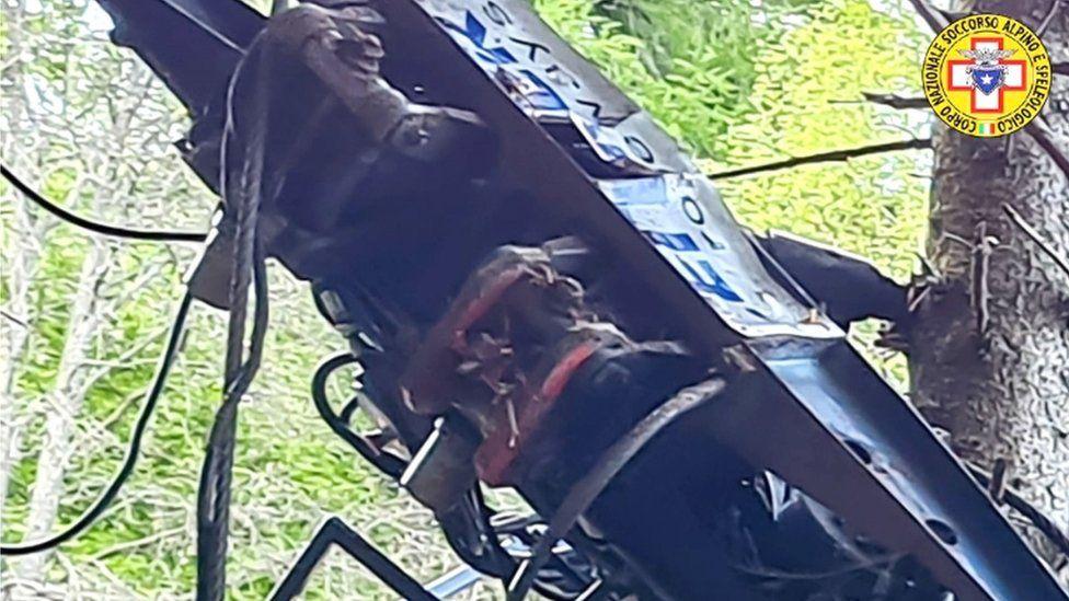 A close-up photo of the crash scene