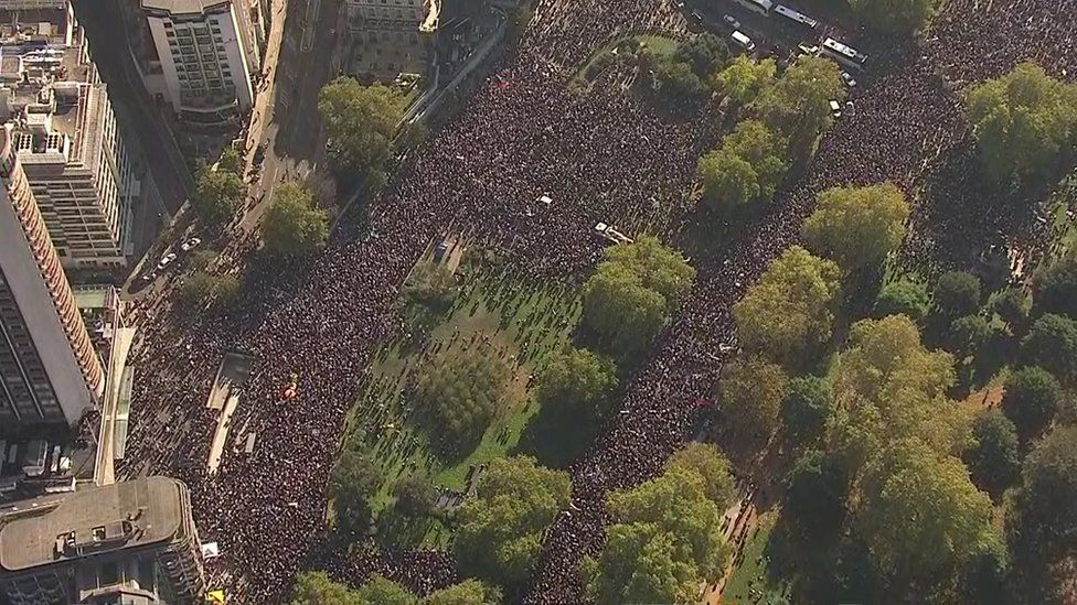 Crowds gathering in central London