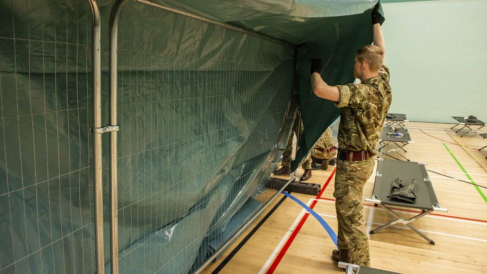 Soldier puts up privacy screen