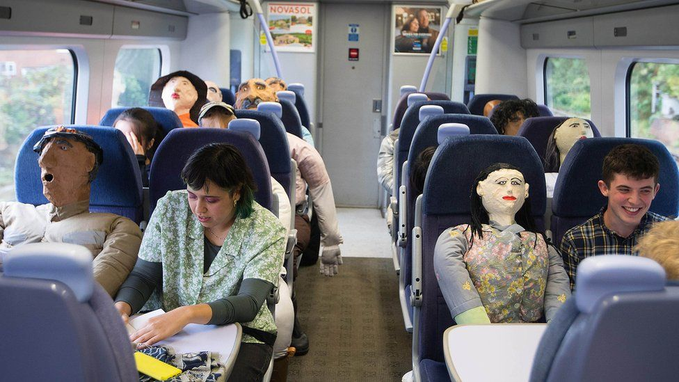 Passengers on the London-to-Margate train enjoyed the journey with Oscar Murillo's effigies