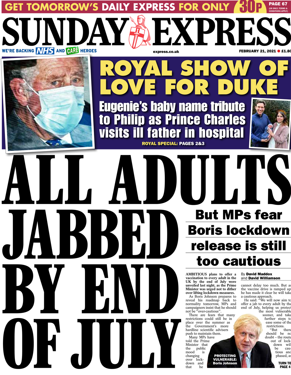 The Sunday Express front page 21 February 2021