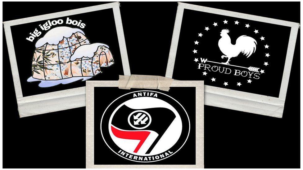 Photo collage of Antifa, Boogaloo Bois and Proud Boys logos
