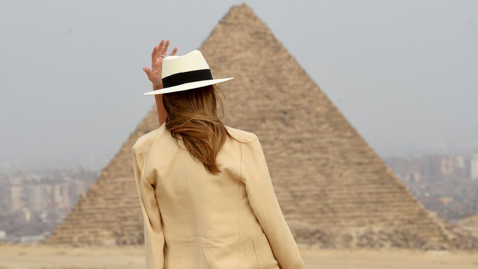 US First Lady Melania Trump visits the Giza Pyramids on October 6, 2018