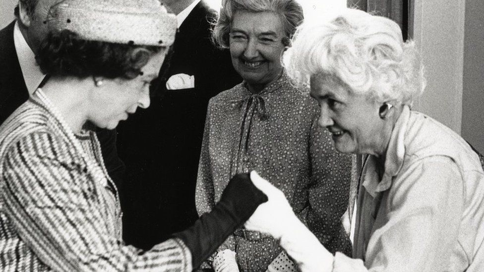 Jennie Lee greeting Her Majesty The Queen at the OU Campus in Milton Keynes in 1979.